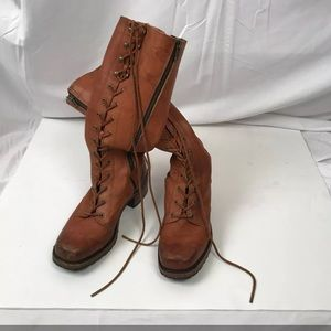 Frye Tall Brown Lace Up Leather Boots